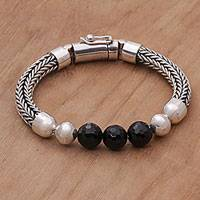 Onyx beaded chain bracelet, 'Bold Elegance' - Onyx and Sterling Silver Beaded Chain Bracelet from Bali