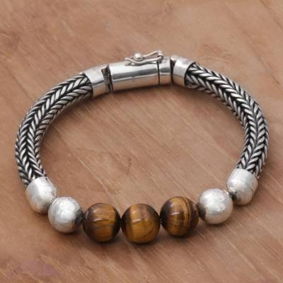 Tigers eye beaded chain bracelet, Bold Elegance