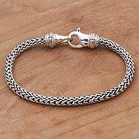 Men's sterling silver chain bracelet, 'Confident Man'