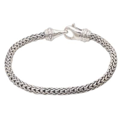 Men's sterling silver chain bracelet, 'Confident Man' - Sterling Silver Men's Chain Bracelet by Balinese Artisans
