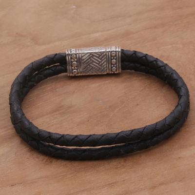 Novica Mens leather wristband bracelet, Double or Quits - Mens Leather Wristband Bracelet