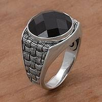 Men's onyx cocktail ring, 'Bold and Dark' - Onyx and 925 Sterling Silver Cocktail Ring from Bali