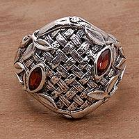 Men's garnet ring, 'Bold Bamboo' - Garnet and 925 Sterling Silver Men's Ring from Bali