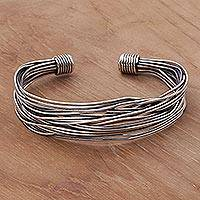 Sterling silver cuff bracelet, 'Live Wire Shadow' - Sterling Silver Wrapped Wire Bracelet Handcrafted in Bali