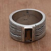 Smoky quartz band ring, 'Wooded Landscape' - Smoky Quartz and Sterling Silver Band Ring from India