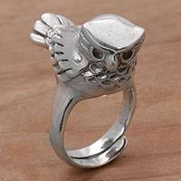 Sterling silver cocktail ring, 'Perched Owl' - Artisan Crafted Sterling Silver Owl Cocktail Ring from Bali