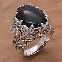 Onyx cocktail ring, 'Dark Forest' - Handcrafted Onyx and Sterling Silver Cocktail Ring from Bali