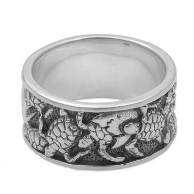 Men's sterling silver band ring, 'Turtle Procession' - 925 Sterling Silver Turtle Band Ring by Balinese Artisans