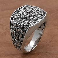 Men's sterling silver signet ring, 'Bold Wicker' - 925 Sterling Silver Woven Motif Signet Ring from Bali