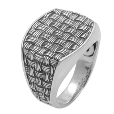 Men's sterling silver signet ring, 'Bold Wicker' - 925 Sterling Silver Woven Motif Signet Ring from Bali