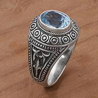 Men's blue topaz ring, 'Awakening Circles' - Blue Topaz and Sterling Silver Men's Ring from Bali