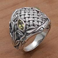 Men's peridot ring, 'Bold Bamboo' - Peridot and Sterling Silver Men's Ring from Bali
