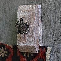 Wood tapestry hangers, 'Turtle Helpers' (pair)