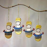 Wood ornaments, 'Jolly Snowmen' (set of 4) - Set of Four Painted Wood Snowmen Ornaments from Bali