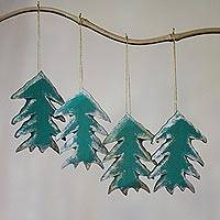 Wood ornaments, 'Holiday Evergreens' (set of 4) - Set of Four Painted Green Tree Ornaments from Bali