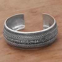 Sterling silver cuff bracelet, 'Bali Leaves' - Sterling Silver Leafy Cuff Bracelet by Balinese Artisans