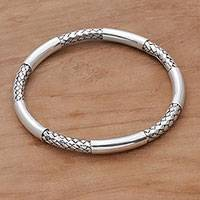 Sterling silver bangle bracelet, 'Bali Show'