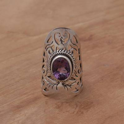 Amethyst cocktail ring, 'Purple Bliss' - Amethyst and Sterling Silver Cocktail Ring from Bali
