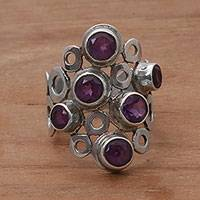 Amethyst cocktail ring, 'Lavender Circles'