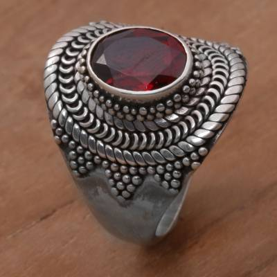 Garnet cocktail ring, 'Dotted Crown' - Garnet and Sterling Silver Dot Motif Ring from Bali