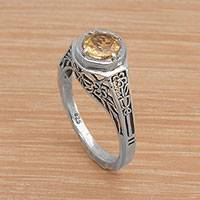 Citrine solitaire ring, 'Magic Garden' - Ornate Citrine Solitaire Ring with 925 Silver Floral Cutouts