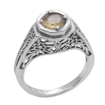 Ornate Citrine Solitaire Ring with 925 Silver Floral Cutouts
