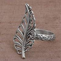 Sterling silver cocktail ring, 'Leafy Soul' - Leaf Shaped Sterling Silver Cocktail Ring from Indonesia
