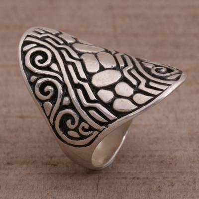 Sterling silver cocktail ring, 'Temple Pebbles' - Sterling Silver Combination Finish Cocktail Ring from Bali