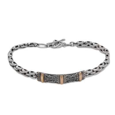 Sterling silver and gold accent bracelet, 'Holy Dimension' - Sterling Silver Link Bracelet with Gold Accents from Bali