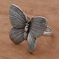 Sterling silver cocktail ring, 'Blessed Butterfly' - 925 Sterling Silver Butterfly Cocktail Ring from Bali