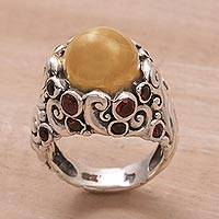 Gold accented silver cocktail ring, 'Golden Dome' - Gold Accent Silver Balinese Cocktail Ring with Garnet Stones