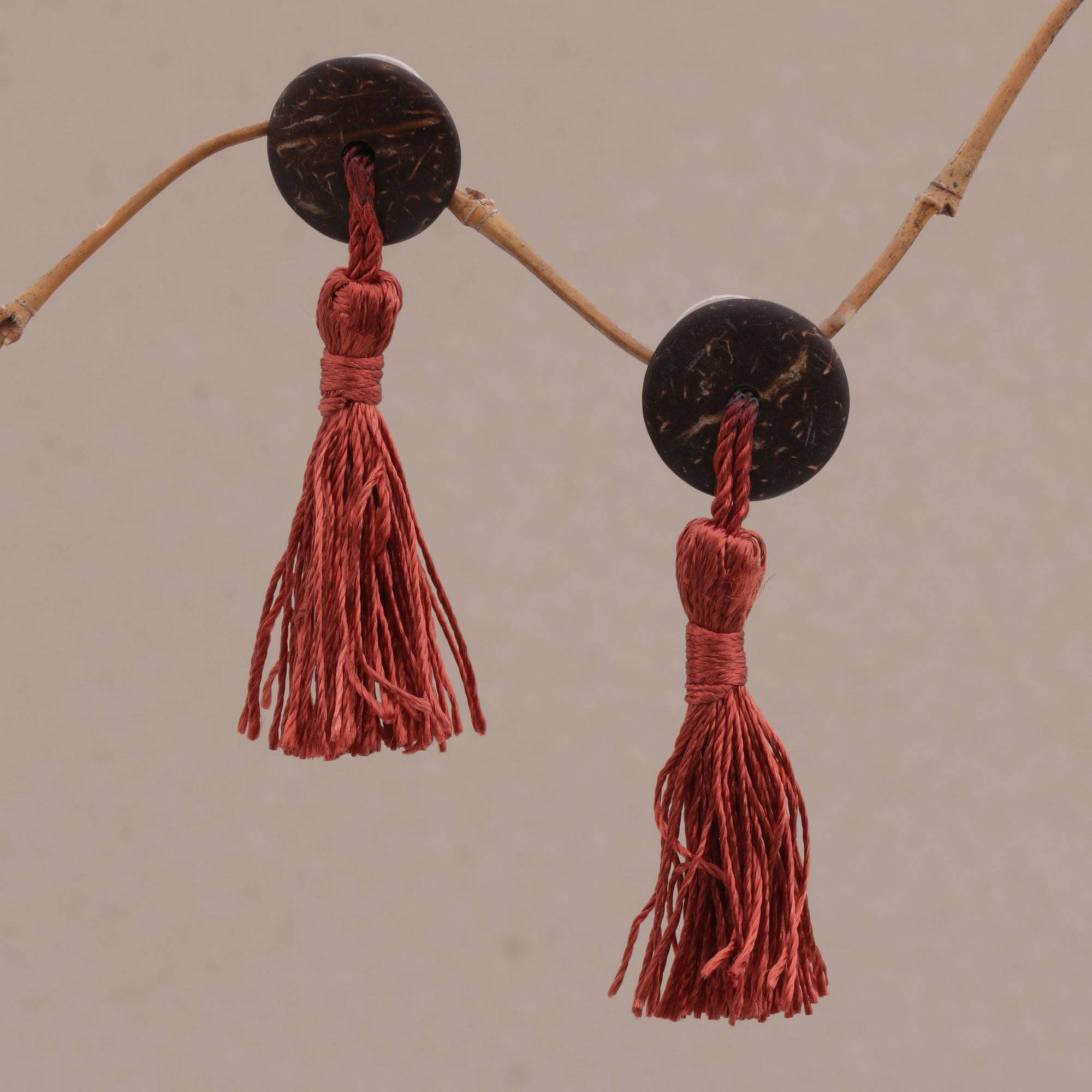 Coconut Shell Earrings, 'Button Tassels' Coconut Shell and Sterling Silver Dangle Earrings from Bali Jewelry Trends