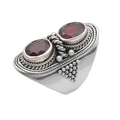Garnet cocktail ring, 'Splendid Duo' - Garnet and Sterling Silver Cocktail Ring from Bali