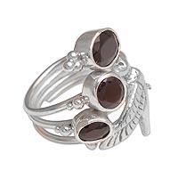 Garnet cocktail ring, 'Natural Hummingbird' - Garnet and Sterling Silver Hummingbird Ring from Bali