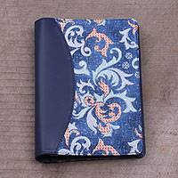 Batik cotton and faux leather planner, 'Sophisticated Azure' - Batik Cotton and Faux Leather Notebook in Azure from Bali