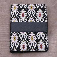 Batik cotton and faux leather planner, 'Tapis Temple' - Balinese Cotton and Faux Leather Planner in Black and White