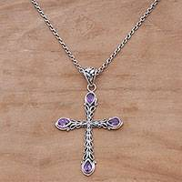 Amethyst pendant necklace, 'Chapel Drops' - Amethyst and Sterling Silver Cross Necklace from Bali