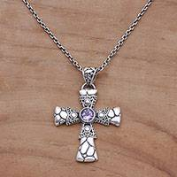 Amethyst pendant necklace, 'Pebble Cross' - Amethyst and Sterling Silver Pebble Cross Necklace from Bali