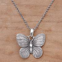 Sterling silver pendant necklace, 'Blessed Butterfly' - 925 Sterling Silver Butterfly Pendant Necklace from Bali