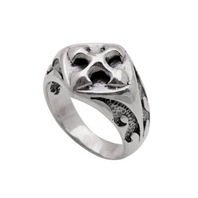 Men's sterling silver cocktail ring, 'Bold Cross' - Sterling Silver Unisex Cross Cocktail Ring from Bali