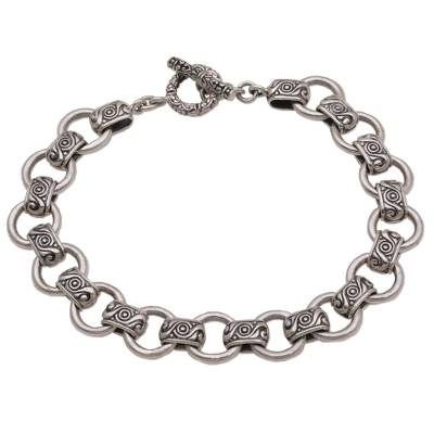 Men's sterling silver link bracelet, 'Faith Engraved' - Sterling Silver Spiral Motif Link Bracelet from Bali