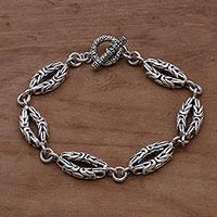 Sterling silver link bracelet, 'Borobudur Story' - 925 Sterling Silver Borobudur Link Bracelet from Bali