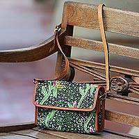Batik cotton leather accent sling bag, 'Avocado Vine' - Batik Cotton Sling with Avocado Vine Motifs from Bali