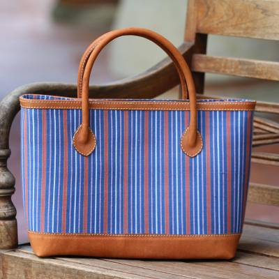 Batik cotton leather accent tote bag, 'Lurik Stripes' - Striped Batik Leather Accent Cotton Tote Bag from Bali