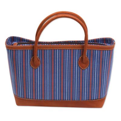 Novica Cotton and leather shoulder bag, Blossoming Stripes