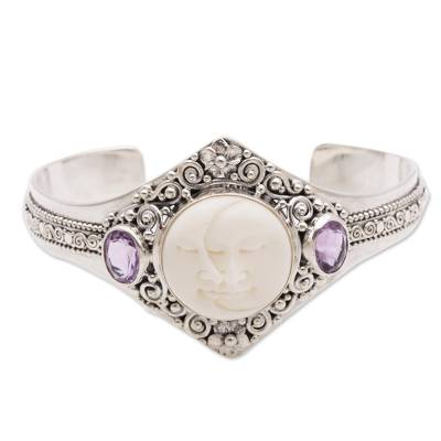 Amethyst cuff bracelet, 'Stellar Embrace' - Artisan Crafted Amethyst and Bone Cuff Bracelet from Bali