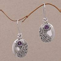 Amethyst dangle earrings, 'Spiral Garden' - Amethyst and Sterling Silver Floral Dangle Earrings