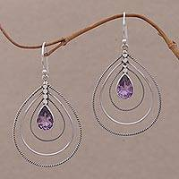 Amethyst dangle earrings, 'Purple Constellation' - Amethyst and Sterling Silver Drop Earrings from Bali