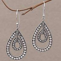 Sterling silver dangle earrings, 'Disco Lights' - Sterling Silver Teardrop Dangle Earrings from Indonesia