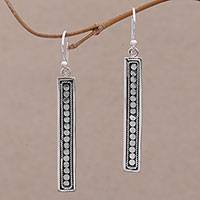 Sterling silver dangle earrings, 'Bold Hello' - Handmade Long Sterling Silver Dangle Earrings from Bali